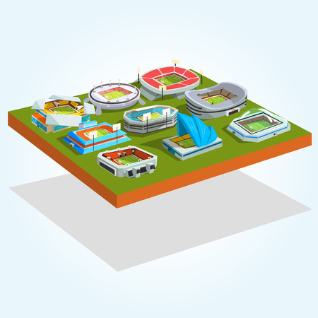 Sports stadium buildings set, outdoor soccer or football srenas for championships, matches vector Illustration isolated on a white background.