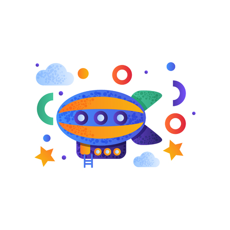 Vintage airship, colorful toy air vehicle vector Illustration isolated on a white background. Çizim