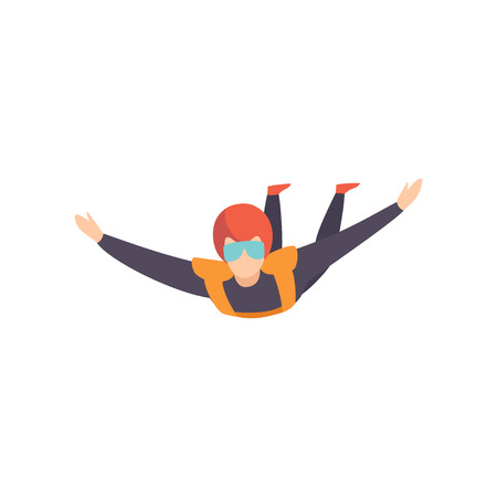 Skydiver flying in the sky, extreme sport, leisure activity concept vector Illustration isolated on a white background. Иллюстрация
