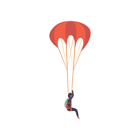 Skydiver descending with a parachute, extreme sport, leisure activity concept vector Illustration isolated on a white background.