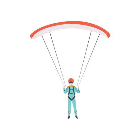 Paracaidista volando con un paracaídas, deporte extremo, vector de concepto de actividad de ocio ilustración aislada sobre fondo blanco.