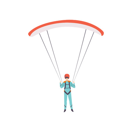 Skydiver flying with a parachute, extreme sport, leisure activity concept vector Illustration isolated on a white background.
