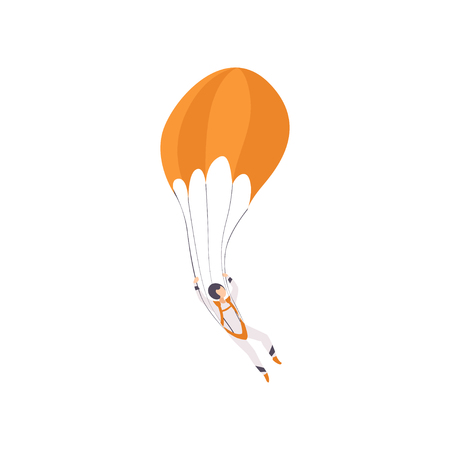 Paratrooper descending with a parachute, extreme sport, leisure activity concept vector Illustration isolated on a white background.