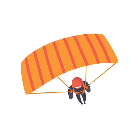 Skydiver descending with a parachute wing, extreme sport, leisure activity concept vector Illustration isolated on a white background. Иллюстрация