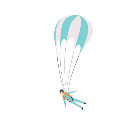 Paratrooper flying with a parachute,, extreme sport, leisure activity concept vector Illustration isolated on a white background.