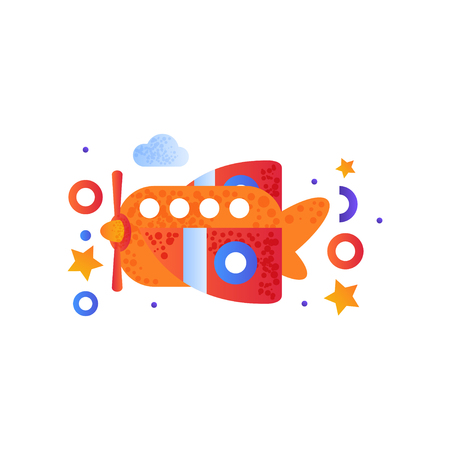 Cute toy plane, childish air vehicle transport vector Illustration isolated on a white background.