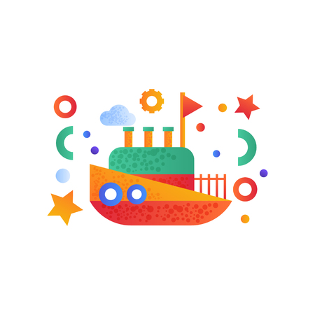 Vintage steamboat, sea travel, retro toy water transport vector Illustration isolated on a white background. Standard-Bild - 128162624