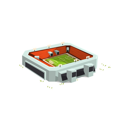 Sports stadium building, outdoor soccer or football venue for championships, matches vector Illustration isolated on a white background.