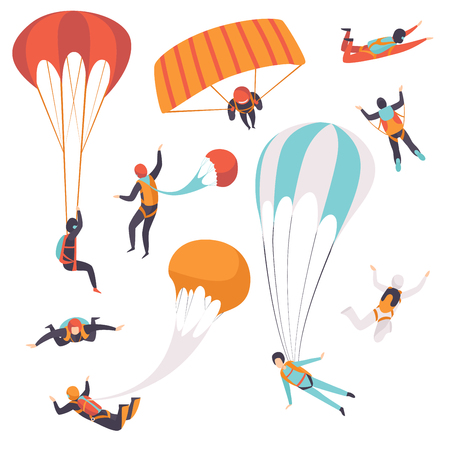 Paracaidistas descendiendo con paracaídas, paracaidismo, paracaidismo deporte extremo vector ilustración aislada sobre fondo blanco.