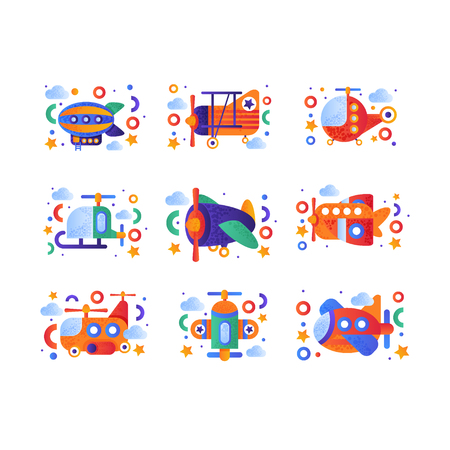 Retro toy air transport set, airship, airplane, biplane, helicopter vehicles vector Illustration isolated on a white background.