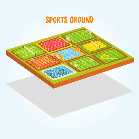 Sports grounds set, tennis, athletic, football, soccer, basketball, handball, baseball stadium, swimming pool vector Illustration isolated on a white background Ilustración de vector