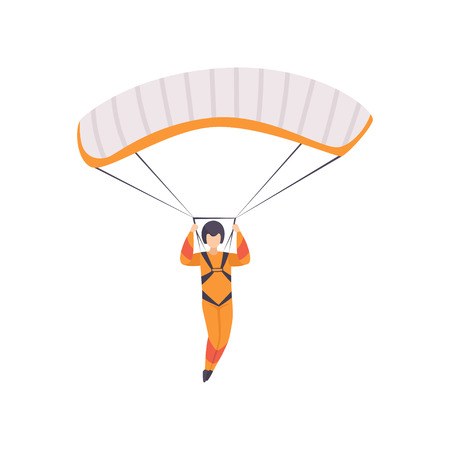 Paratrooper descending with parachute wing, skydiving, parachuting extreme sport vector Illustration isolated on a white background. Illustration