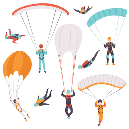 Skydiving men falling through the air with parachutes set, extreme sport, leisure activity concept vector Illustration isolated on a white background. Иллюстрация