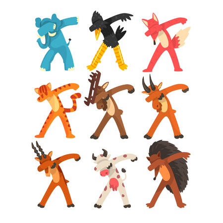 Various animals standing in dub dancing poses set, cute cartoon humanized animals doing dubbing vector Illustration on a white background