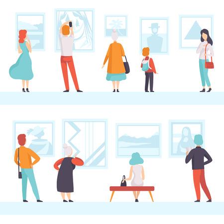 Personas de diferentes edades mirando los cuadros colgados en la pared, visitantes de la exposición viendo exhibiciones del museo en la galería de arte, vector de vista posterior ilustración sobre un fondo blanco