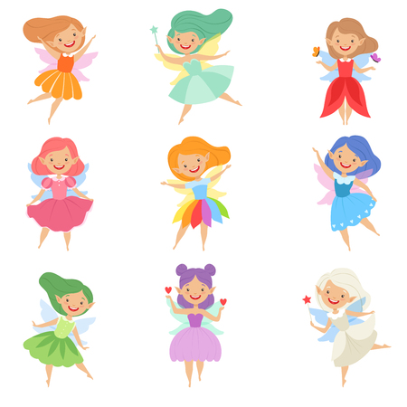 Cute beautiful little winged fairies, lovely girls with hair and dress of different colors vector Illustration isolated on a white background. Illustration