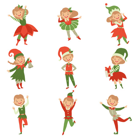 Cute playful boys and girls in elf costumes, little Santa Claus helpers characters vector Illustration isolated on a white background.