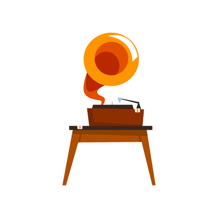 Antique gramophone, old unnecessary thing, garage sale vector Illustration isolated on a white background. Banco de Imagens - 128162637