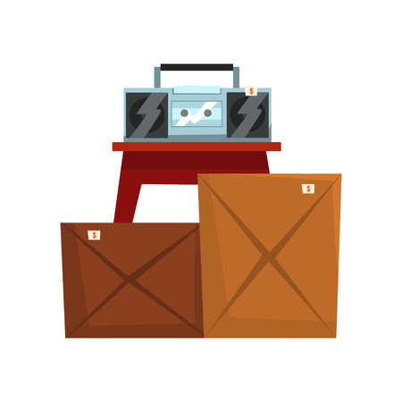 Old unnecessary things, cardboard boxes with old stuff, retro boombox, garage sale vector Illustration isolated on a white background.