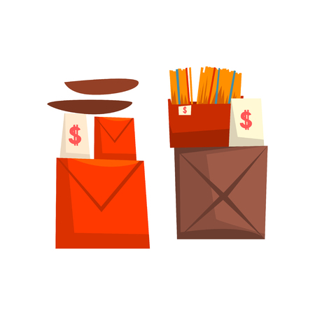 Old unnecessary things, boxes with old stuff, garage sale vector Illustration isolated on a white background.