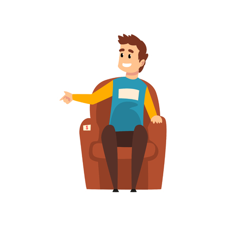 Man sitting in the armchair, male seller or buyer at the garage sale vector Illustration isolated on a white background. Illusztráció