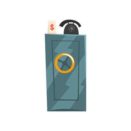 Metal safe box, old unnecessary thing, garage sale vector Illustration isolated on a white background.