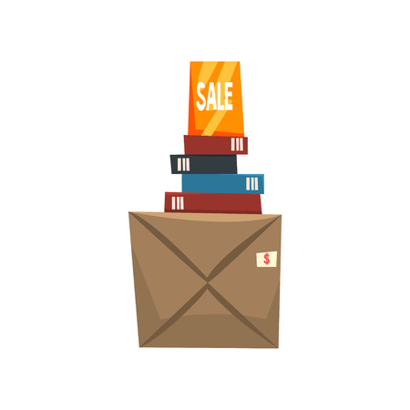 Old unnecessary things, books and box with old stuff, garage sale vector Illustration isolated on a white background. Ilustração