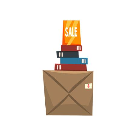 Viejas cosas innecesarias, libros y caja con cosas viejas, vector de venta de garaje ilustración aislada sobre fondo blanco.