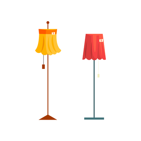Floor lamps, old unnecessary thing, garage sale vector Illustration isolated on a white background. Archivio Fotografico - 128162644