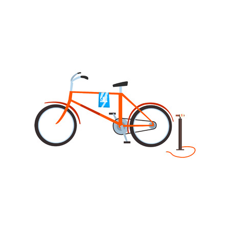 Retro bike and pump, old unnecessary things, garage sale vector Illustration isolated on a white background. Archivio Fotografico - 128162646