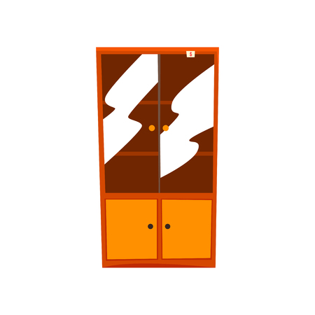 Retro cupboard, old unnecessary furniture, garage sale vector Illustration isolated on a white background. Illustration