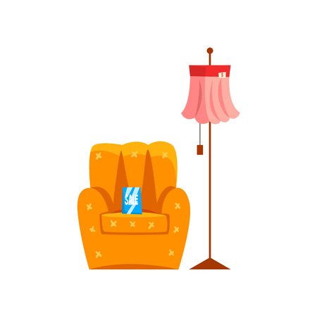Retro armchair and floor lamp, old unnecessary thing, garage sale vector Illustration isolated on a white background. Illustration