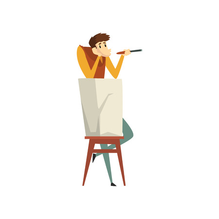 Sculptor working on his sculpture, talented male carver character, creative artistic hobby or profession vector Illustration isolated on a white background.