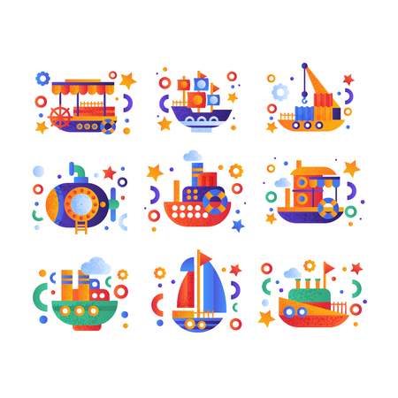 Retro cute water transport set, steamboat, passenger cruise ship, submarine, yacht vector Illustration isolated on a white background.