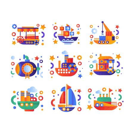Retro cute water transport set, steamboat, passenger cruise ship, submarine, yacht vector Illustration isolated on a white background. Standard-Bild - 128162661