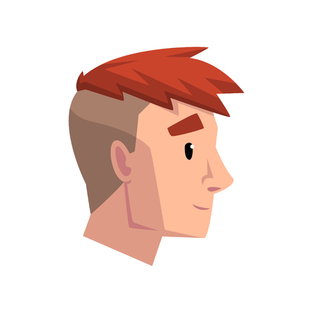 Head of young man with trendy haircut, profile of guy with fashion hairstyle vector Illustration isolated on a white background.