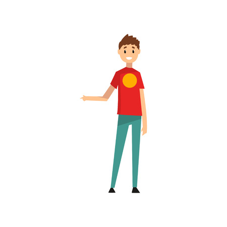 Man pointing his finger to the side, male seller character vector Illustration isolated on a white background.