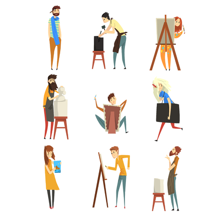 Artist and sculptors set, talented painters or carvers characters, people of creative professions vector Illustration isolated on a white background.  イラスト・ベクター素材
