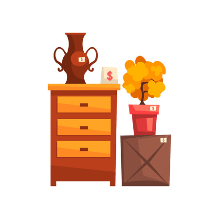 Old unnecessary things, garage sale vector Illustration isolated on a white background. Illusztráció