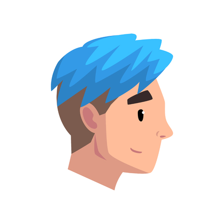 Head of young man with trendy haircut, profile of guy with blue dyed hair vector Illustration isolated on a white background.