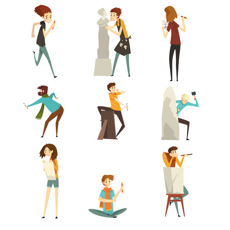 People of creative professions set, talented artists and sculptors characters, creative artistic hobby or profession vector Illustration isolated on a white background.