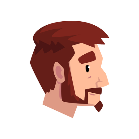 Head of young bearded man with brown hair, profile of guy with fashion haircut vector Illustration isolated on a white background.