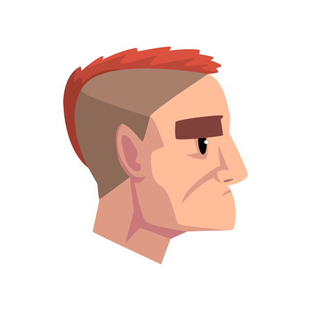 Head of young brutal man with mohawk hairstyle, profile of guy with fashion hairstyle vector Illustration isolated on a white background.