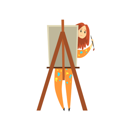 Female artist painting on canvas, talented painter character, creative artistic hobby or profession vector Illustration isolated on a white background.