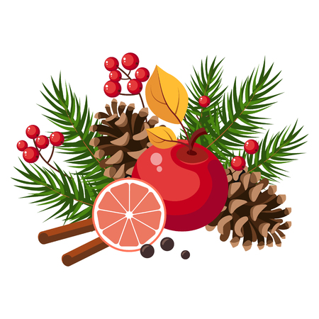 Christmas Design with Fir, Grapefruit, Berries and Cinnamon. Winter Vector Illustration
