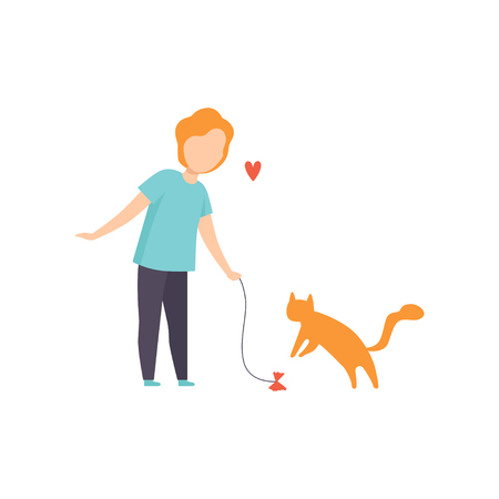Boy playing with his red cat, adorable pet and its owner vector Illustration isolated on a white background.