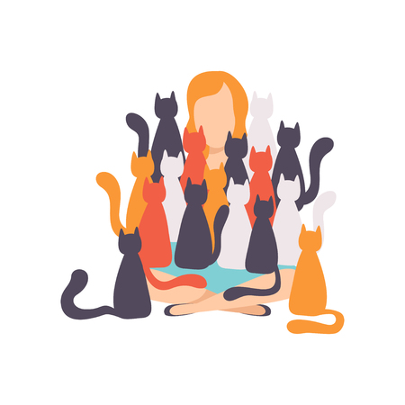 Woman sitting on the floor surrounded by many cats, adorable pets and their owner vector Illustration isolated on a white background. Ilustração