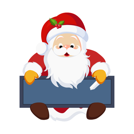 Christmas Santa Claus holding a Chalkboard. Vector Illustration  イラスト・ベクター素材
