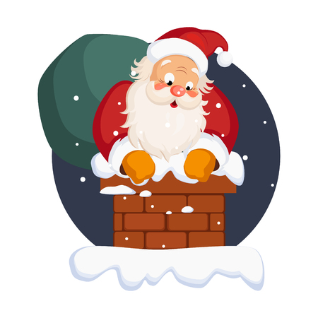 Santa Claus in Chimney on Christmas Eve. Winter Vector Illustration  イラスト・ベクター素材