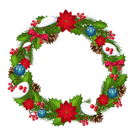 Christmas Wreath with Berries and Decorations. Holiday Vector